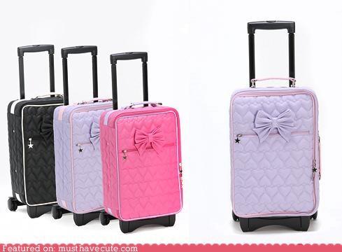 bow girly luggage rolling suitcase Travel - 4356260352