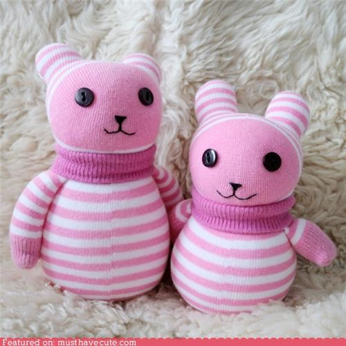 bears craft pink Plush socks stripes - 4356681728