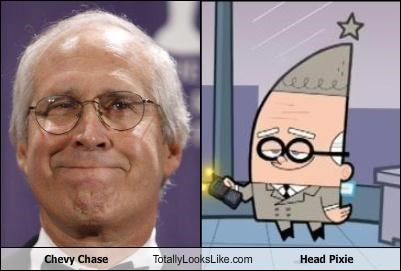 Chevy Chase,fairly oddparents actor,head pixie