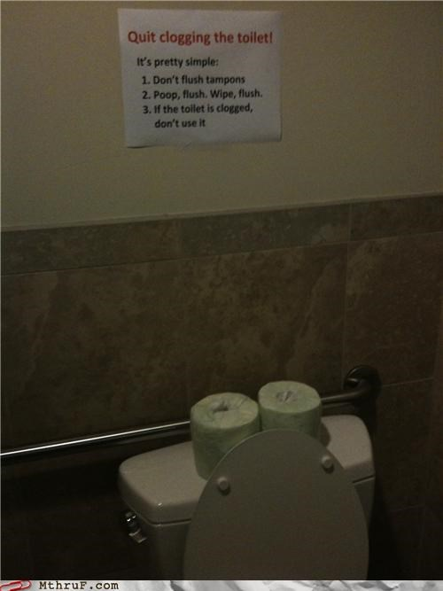 bathroom,clog,note,signs,toilet