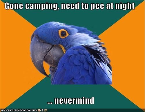 camping gotta pee hold it night Paranoid Parrot probably bears - 4358483712