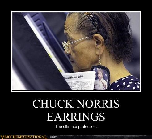 awesome chuck norris earrings election fashion old lady wtf - 4358687232