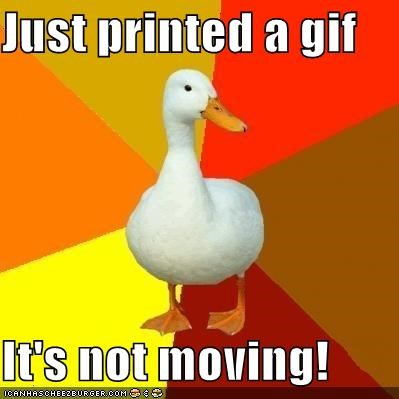 animated gif,print out,Technologically Impaired Duck,y-u-no-work