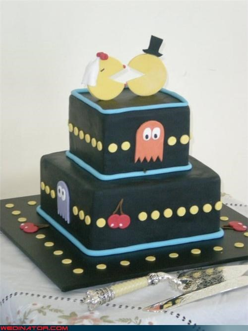 arcade game wedding cake arcade inspired wedding cake bride Dreamcake funny wedding photos groom pac man wedding cake Sheer Awesomeness sheer awesomeness wedding cake were-in-love Wedding Themes