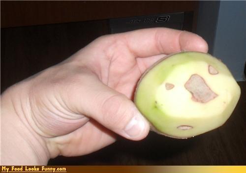 confused face peeled potato