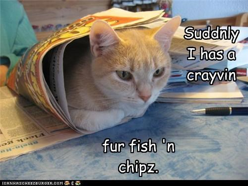 Suddnly I has a crayvin fur fish 'n chipz.