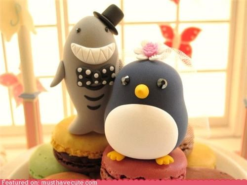 cake toppers penguin shark wedding wedding cake - 4363298816