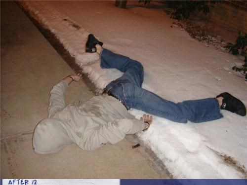 crime scene,fall,passed out,snow