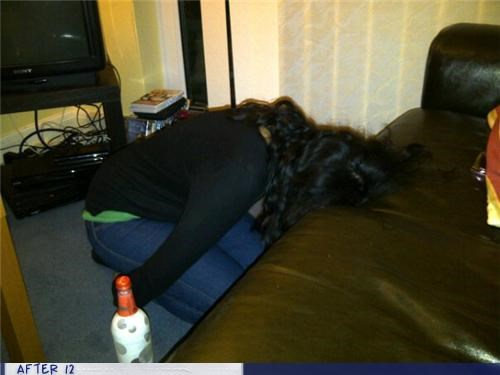 couch,drunk,passed out,position,weird
