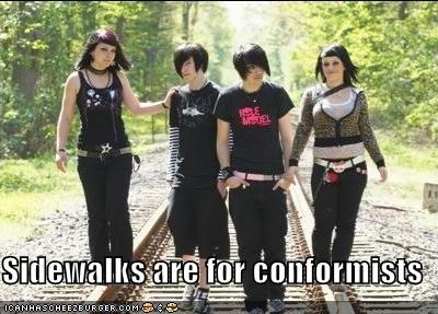 conformist,hipsterlulz,sidewalks,train tracks