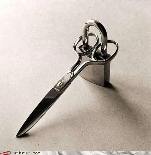 Funny picture of a padlocked pair of scissors which certain folks can certainly relate to.