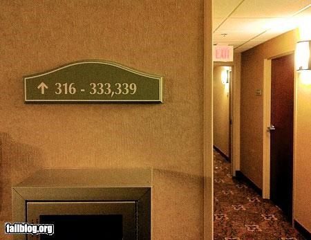failboat,hallway,hotel,numbers,oddly specific,signs