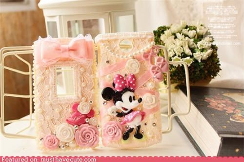 case,cell phone,cover,disney,girly,lace,minnie mouse,pink
