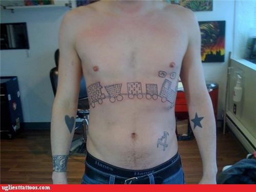 bad wtf tattoos toy train