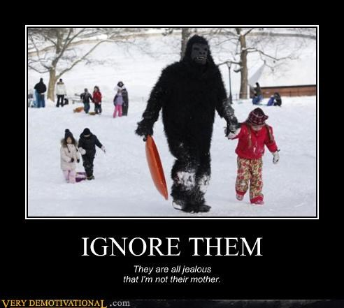 apes costume haters ignorance lol parent issues sledding snow wtf