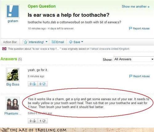 ear wax gross toothache yahoo answers - 4368163328