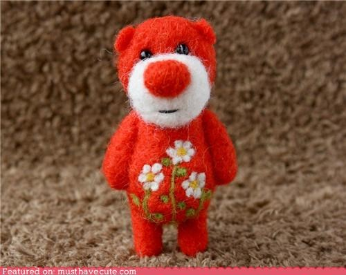 bear felted flowers needle felted red tiny - 4368389376