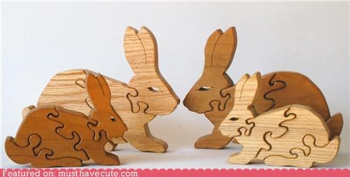 bunnies easy kids puzzle rabbits wood - 4368434176