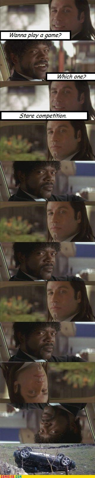 car accident,From the Movies,idiots,john travolta,pulp fiction,Samuel L Jackson,stare contest