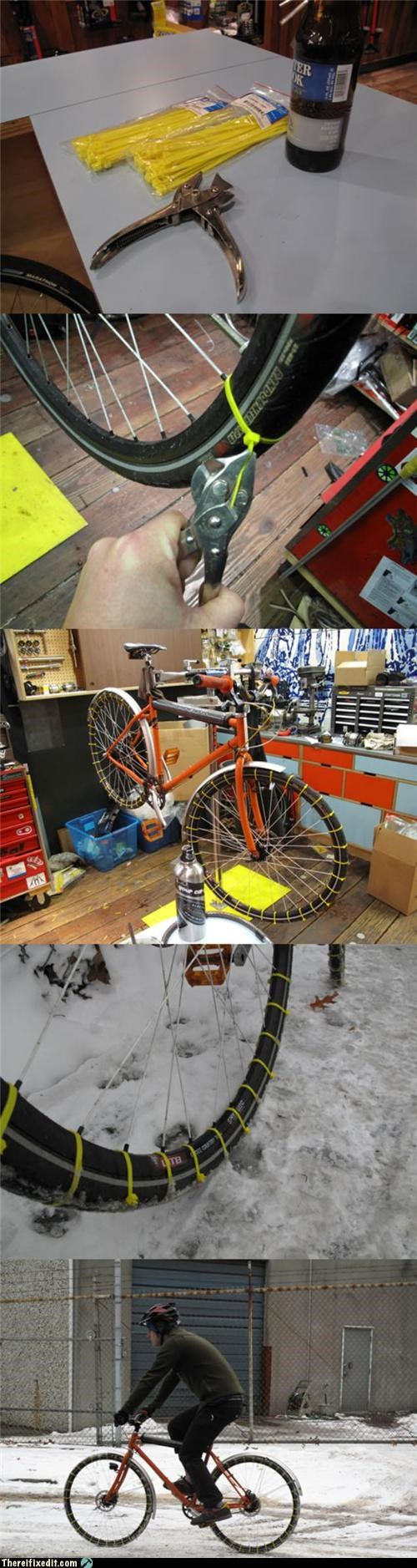 beer bicycles Follow Up snow tire winter zip tie