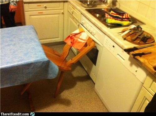 chair holding it up kitchen kludge - 4368987136