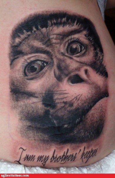 funny,monkeys,wtf,tattoos