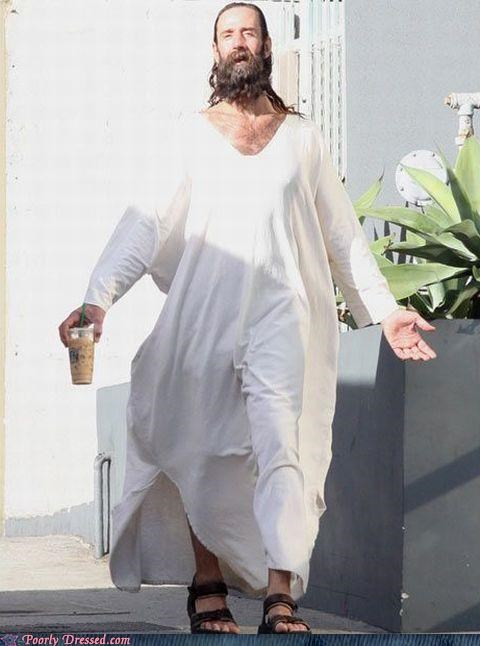 beard,jesus,robe,sandals,Starbucks