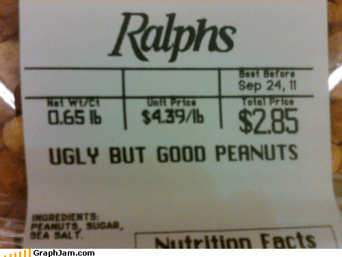 good,IRL,peanuts,sign,ugly