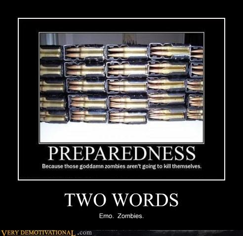 being prepared bullets emos guns sad but true zombie