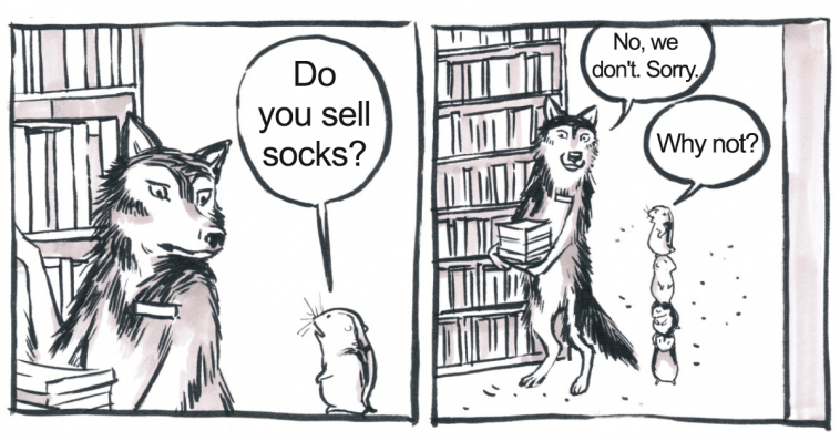 webcomic of a wolf offering customer service as you'd expect a wolf to offer