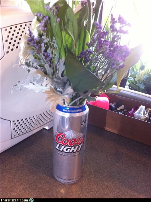 beer,beer can,flowers,vase