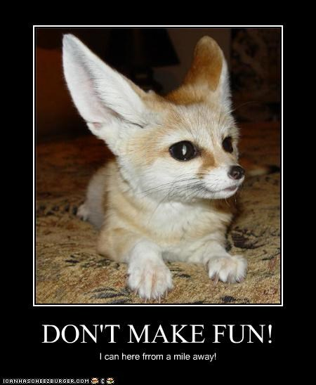 DON'T MAKE FUN! I can here frrom a mile away!
