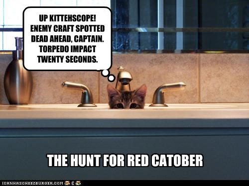 caption captioned cat hunt kitten parody peeking periscope sink the hunt for red october up - 4371552512