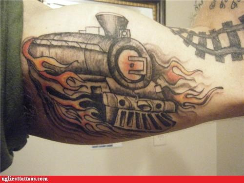 bad funny trains tattoos - 4371631872