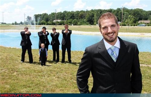 confusing groom picture,crazy groom,funny wedding photos,groom,groomsmen with guns,gun-loving groomsmen,make love not war,ring bearer,scary,shoot the groom,technical difficulties,wedding party,white trash wedding,why,wtf,wtf is this