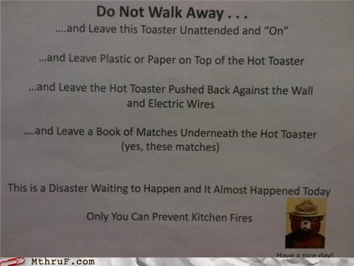 fire matches note Smokey toaster warning - 4372390656