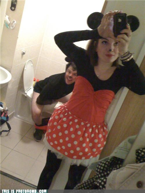 costume,mickey mouse,minnie mouse,photobomb,really,wtf