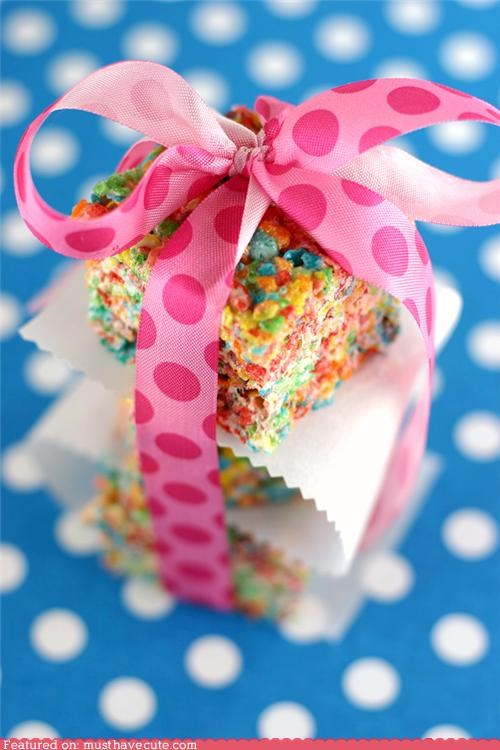 bow,epicute,marshmallow,rainbow,rice krispie treats