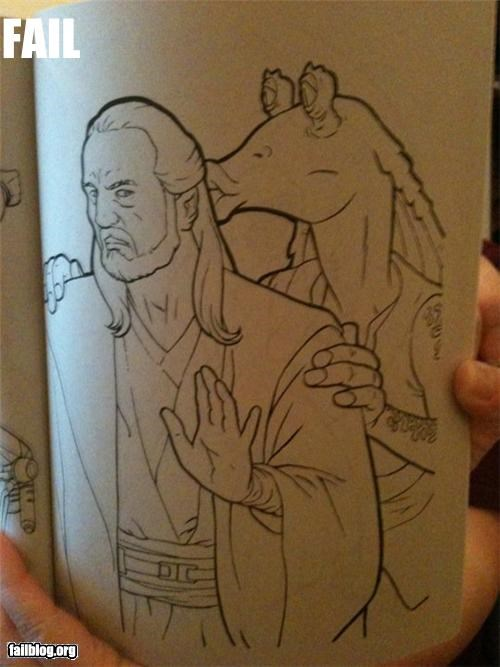 Jar-Jar Coloring Book Fail We found this in the coloring book we bought our daughter.