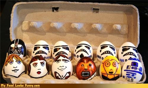 eggs eggshells luke skywalker Painted painted eggs star wars stormtrooper
