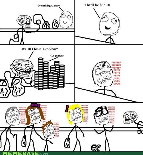 cashier,customer rage,fuuu,pennies,Rage Comics,store