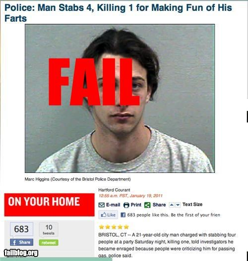 failboat farts g rated knife police Probably bad News reasons stabbing - 4373891328