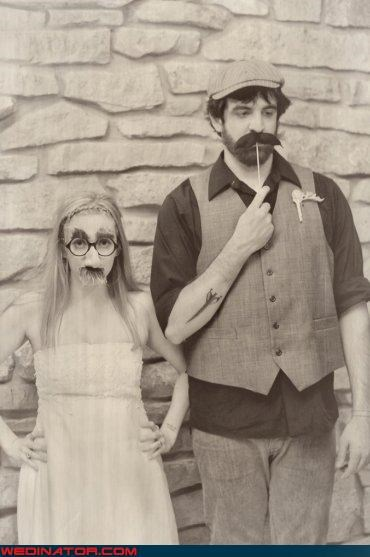 bride,facial hair,fake facial hair,fake mustache wedding,fashion is my passion,funny wedding photos,groom,hipster bride,hipster groom,hipster wedding,mustache on a stick,nerds,nerdy hipsters,sepia tone picture,surprise,were-in-love,Wedding Themes