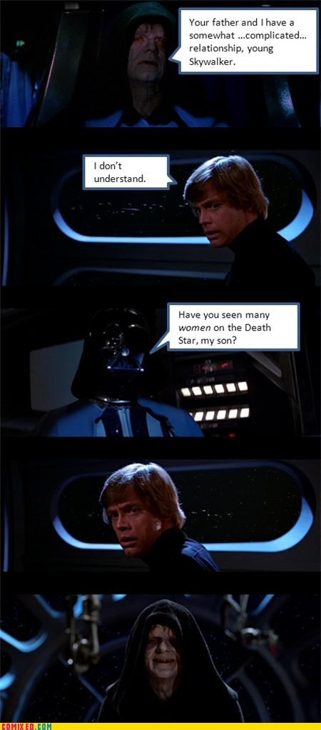 darth vader,Death Star,Emperor Palpatine,gay jokes,luke skywalker,star wars