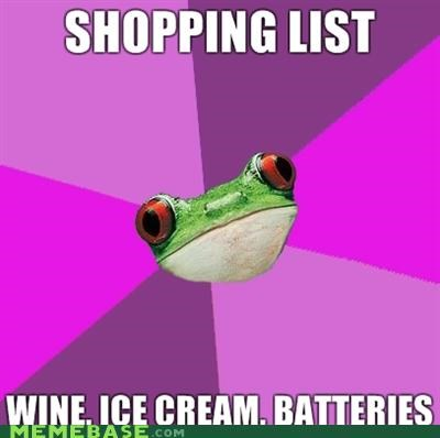batteries,foul bachelor frog,foul bachelorette frog,ice cream,wine