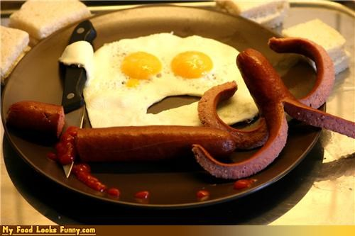 breakfast eggs hot dogs ketchup knife murder octopus Sad violent
