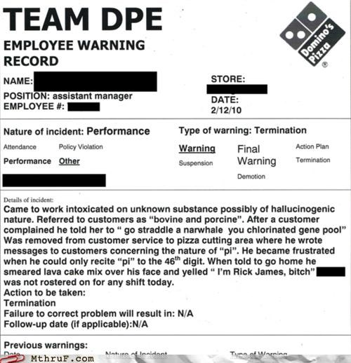dominos,drugs,firing,warning record