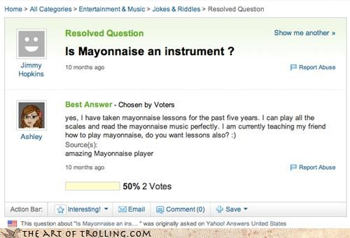 food,instrument,mayonnaise,patrick,santa claus,SpongeBob SquarePants,virginia,Yahoo Answer Fails