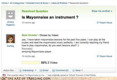 food instrument mayonnaise patrick santa claus SpongeBob SquarePants virginia Yahoo Answer Fails - 4375385600