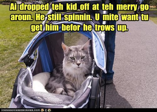 babysitting,caption,captioned,cat,dropping off,human,kid,merry go round,spinning,stroller